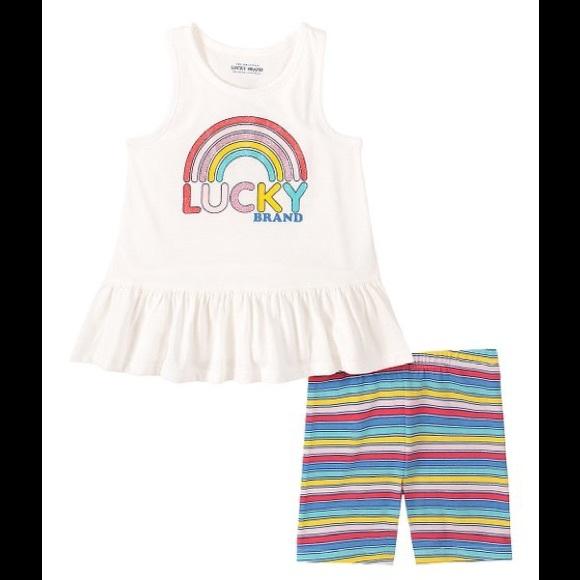Lucky Pink Ruffle Tank & Rainbow Stripe Shorts